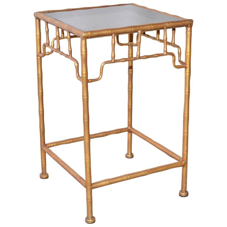 Vintage Faux-Bamboo Gilt-Metal Table