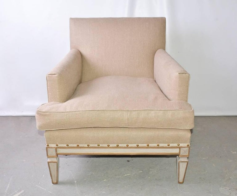 Gustavian Vintage Neoclassical Club Chair For Sale