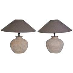 Pair of Antique Chinese Vessel Lamps and Shades