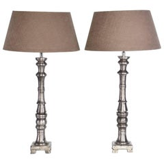 Pair of Slender Contemporary Metal Base Lamps