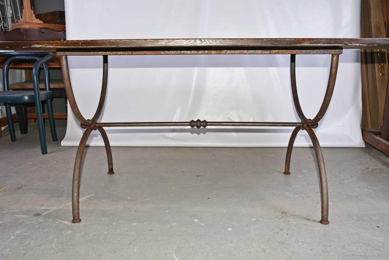 Rustic Oval Metal Base and Wood Top Dining Table For Sale