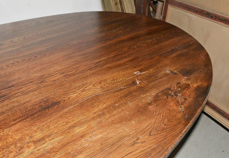 Contemporary Oval Metal Base and Wood Top Dining Table For Sale