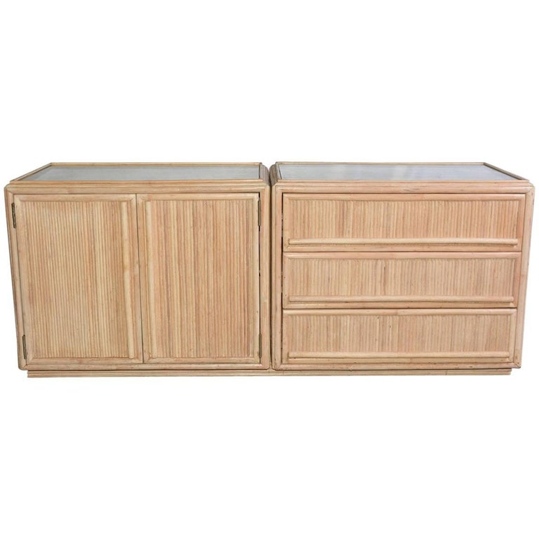 Contemporary Faux Bamboo Combined Cabinet/Drawers