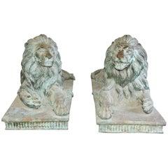 Pair of Monumental Bronze Lions