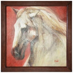 """White Horse"" Painting by Gladys Morante"