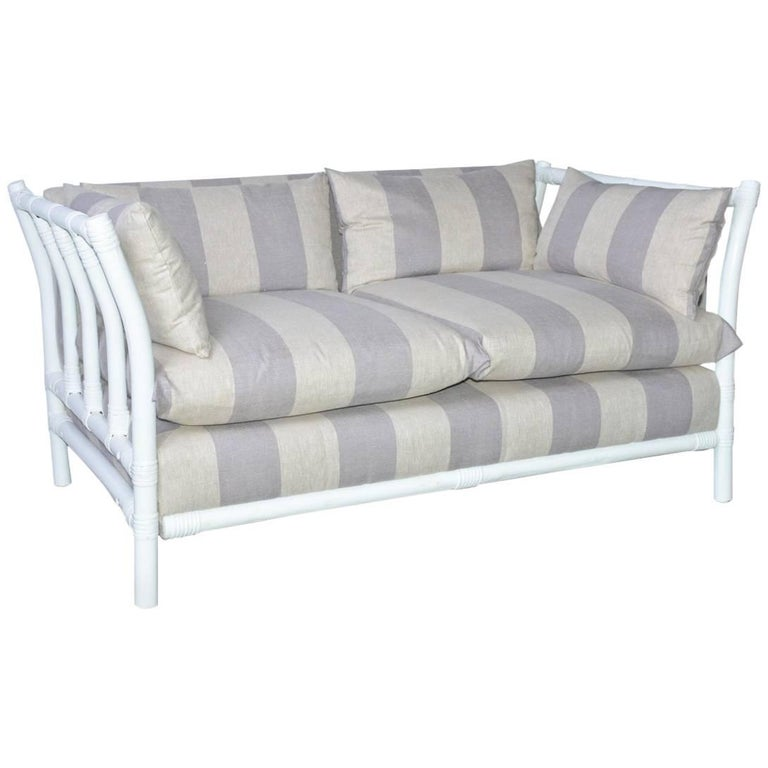 Midcentury Porch or Sun Room Upholstered Loveseat For Sale