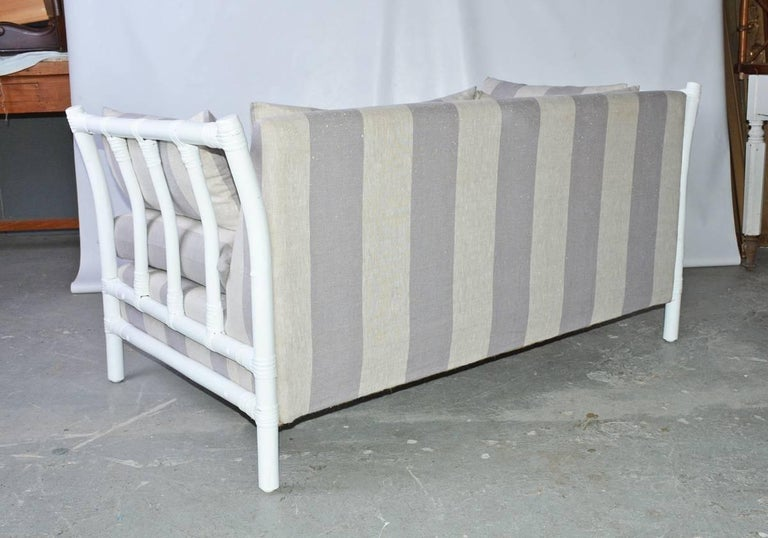 American Midcentury Porch or Sun Room Upholstered Loveseat For Sale