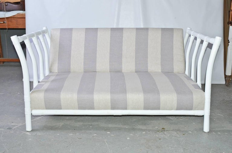 Machine-Made Midcentury Porch or Sun Room Upholstered Loveseat For Sale