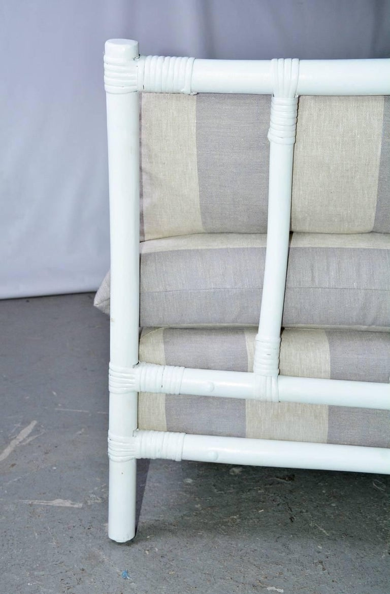 Midcentury Porch or Sun Room Upholstered Loveseat For Sale 1