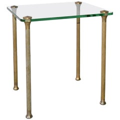 Midcentury Maison Jansen Style Glass and Brass End Table