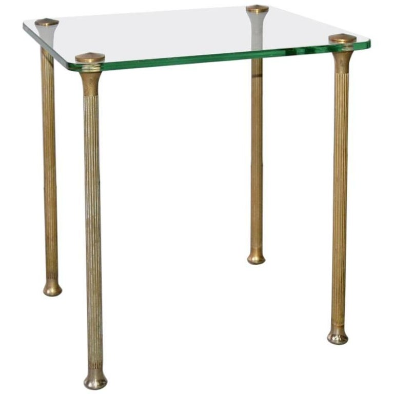Midcentury Maison Jansen Style Glass and Brass End Table For Sale