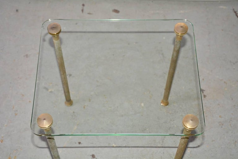 French Midcentury Maison Jansen Style Glass and Brass End Table For Sale