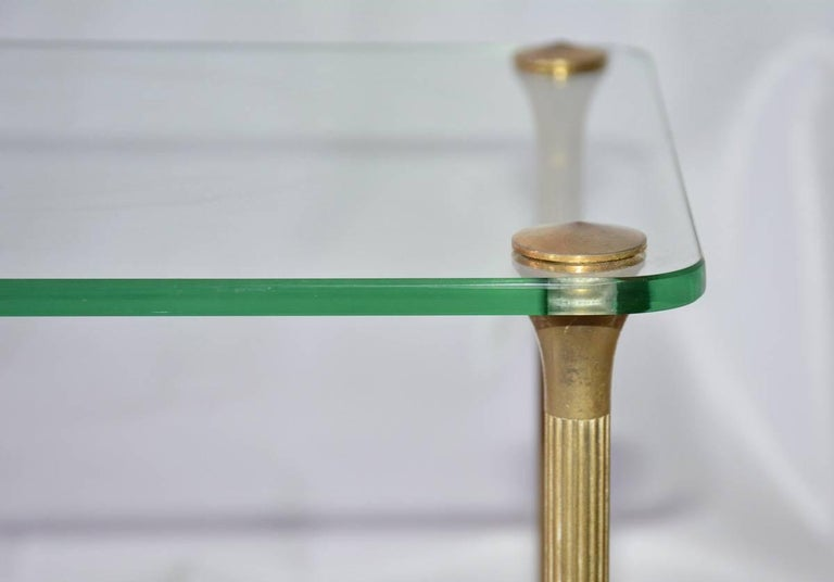 Machine-Made Midcentury Maison Jansen Style Glass and Brass End Table For Sale