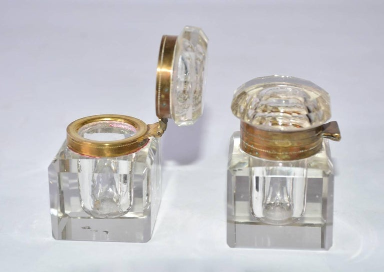 Hand-Crafted Gilded Age Silver Plated and Crystal Writing Desk Set For Sale