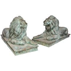 Pair of Monumental Antique Bronze Lions