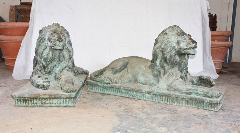 Originally from a Massachusetts North Shore estate, each antique lion is beautifully crafted, bold in detail and amazing true to life. Created in the Beaux Style by highly skilled craftsman using the lost wax process, these lions are suitable for