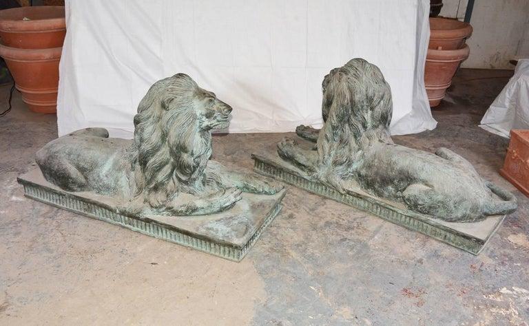 Beaux Arts Pair of Monumental Antique Bronze Lions For Sale