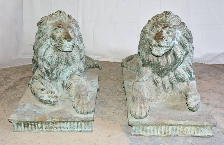 Hand-Crafted Pair of Monumental Antique Bronze Lions For Sale