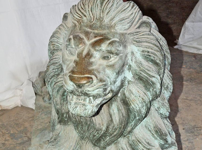 Pair of Monumental Antique Bronze Lions In Excellent Condition For Sale In Great Barrington, MA