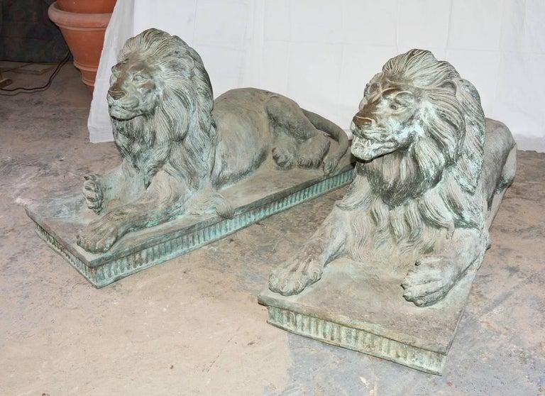 Pair of Monumental Antique Bronze Lions For Sale 3