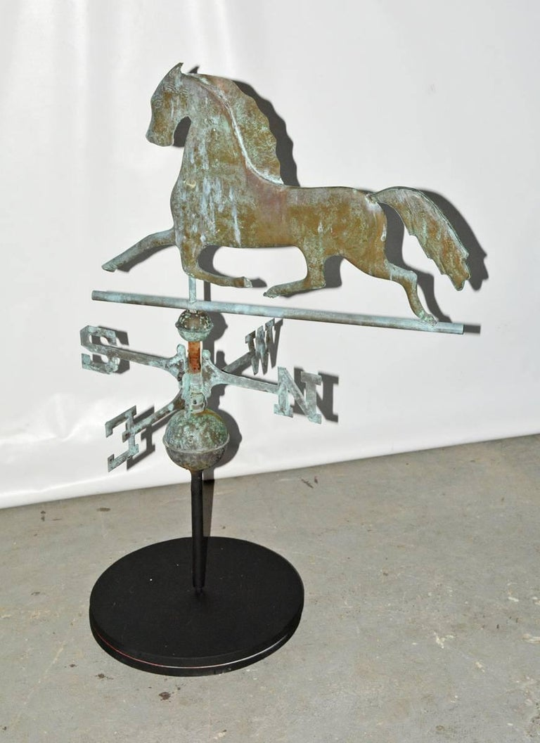 Antique American Copper Weathervane On Stand For Sale At