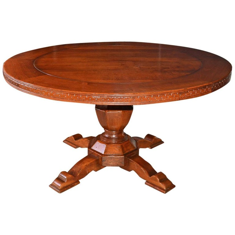 Vintage Round Wood Dining, Library or Conference Table For Sale