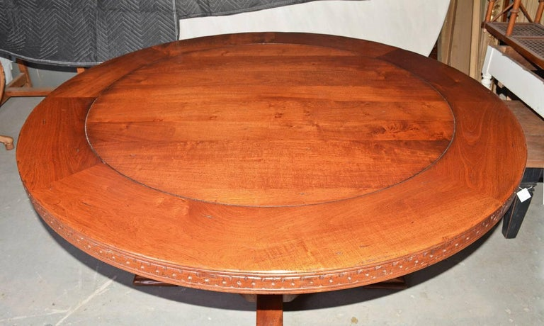 Vintage Round Wood Dining, Library or Conference Table For Sale 1