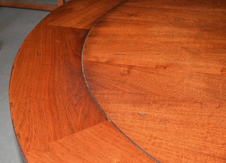 Vintage Round Wood Dining, Library or Conference Table For Sale 2