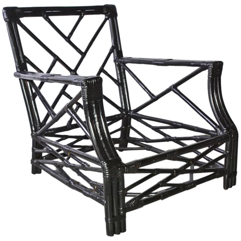 Vintage Black Wicker or Bamboo Porch/Terrace Armchair