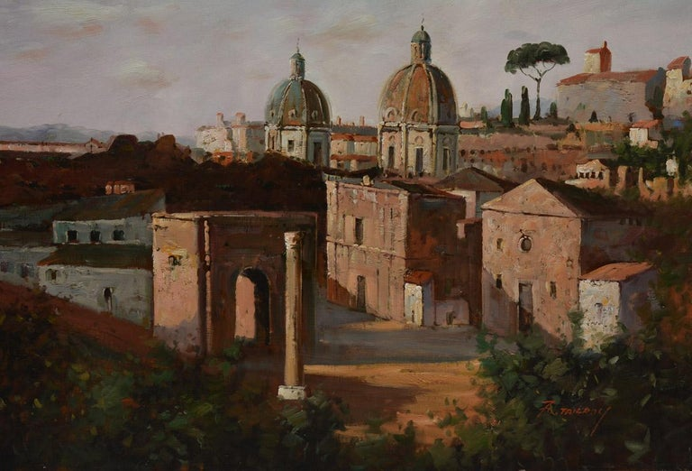 The vintage oil on canvas landscape painting of Rome is signed in red by visual artist, F. Tailroy. The canvas is stretched on a frame. There is no exterior frame.