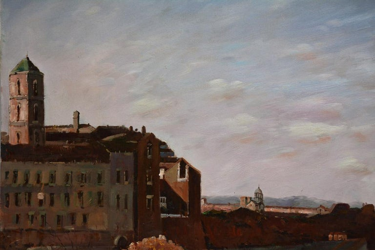 Machine-Made Vintage Oil on canvas Painting by F. Tailroy of Italian Landscape For Sale