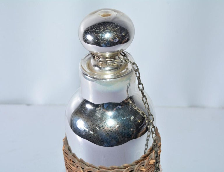 Mercury Glass Thermos Bottle In Good Condition For Sale In Great Barrington, MA