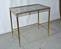 Mid-Century Neoclassical Style Brass and Mirrored Side Table
