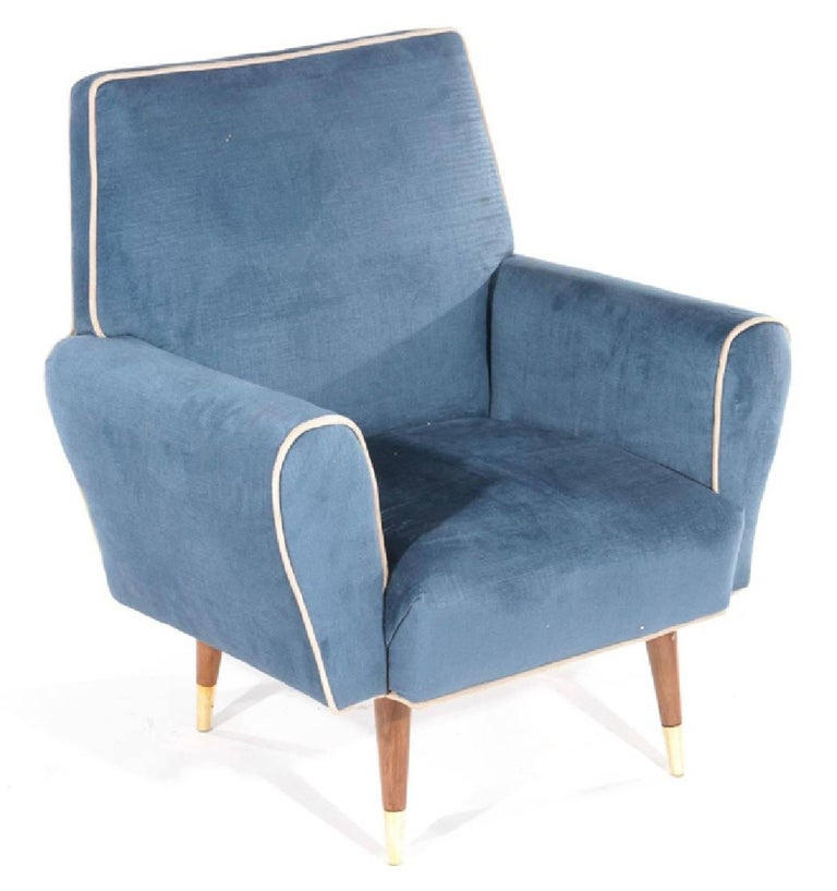 Pair of recently upholstered club chairs, circa 1960s. They offer great comfort without taking up a lot of room. Great for a bedroom, dressing room or sitting room.