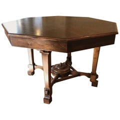 Octagonal Mahogany Center Table
