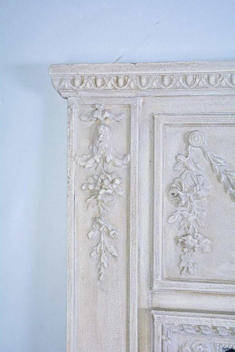 Painted Antique French Neoclassical Mantel Mirror For Sale