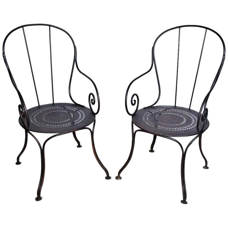 Pair of Antique French Wrought Iron Park Armchairs For Sale