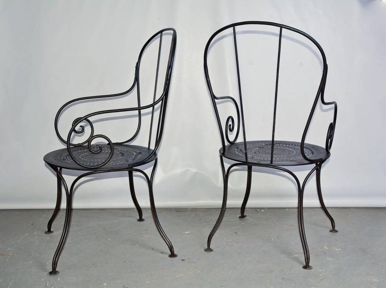 Other Pair of Antique French Wrought Iron Park Armchairs For Sale