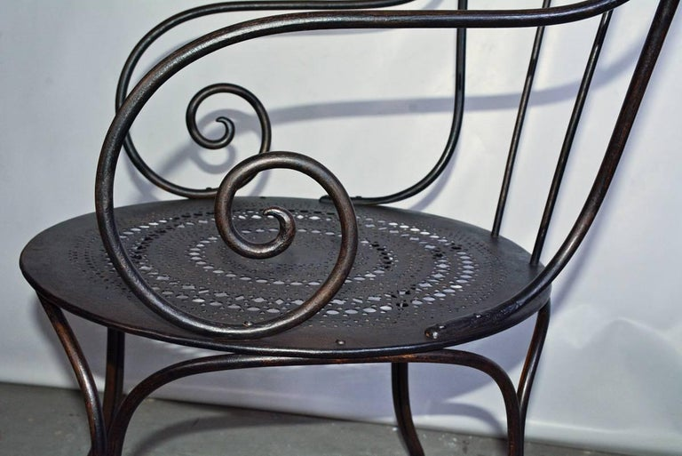 Painted Pair of Antique French Wrought Iron Park Armchairs For Sale