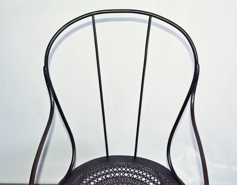 Pair of Antique French Wrought Iron Park Armchairs For Sale 1