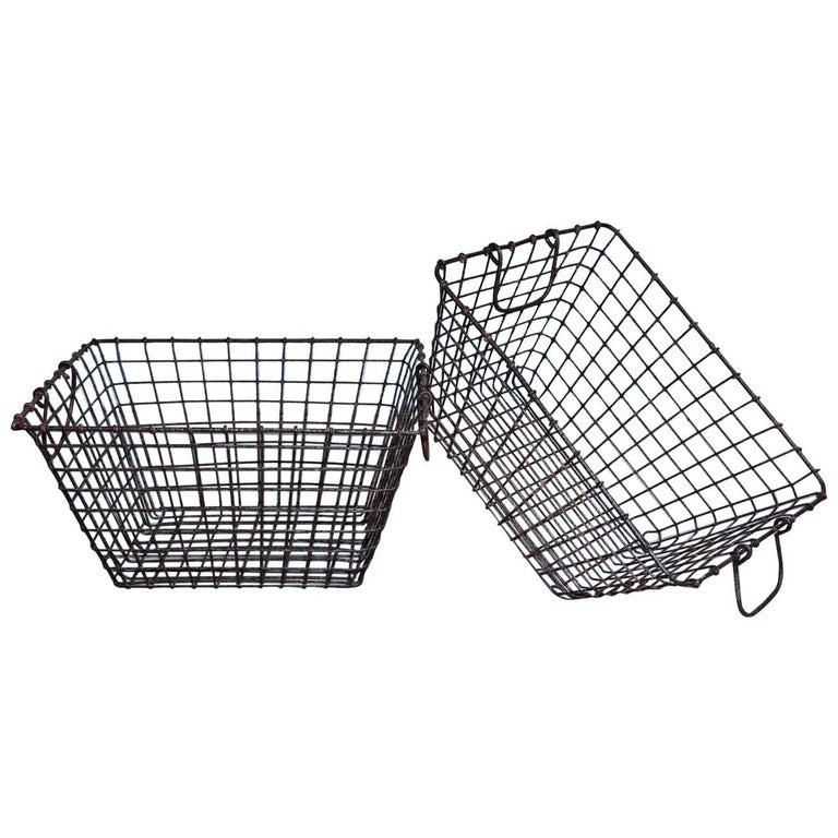 Vintage Wire Baskets with Handles, Sold Singly For Sale