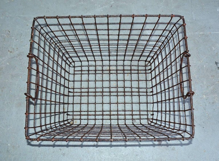 French Vintage Wire Baskets with Handles, Sold Singly For Sale