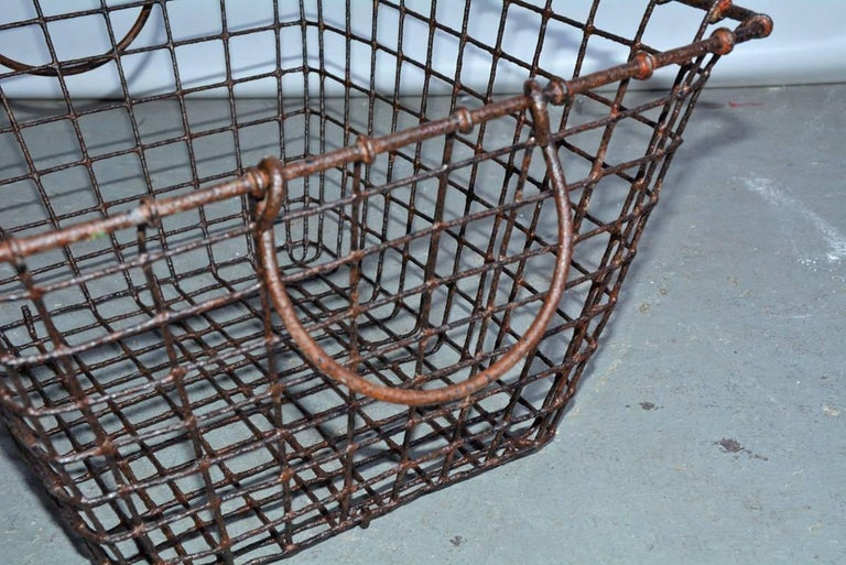 Vintage Wire Baskets with Handles, Sold Singly In Fair Condition For Sale In Great Barrington, MA