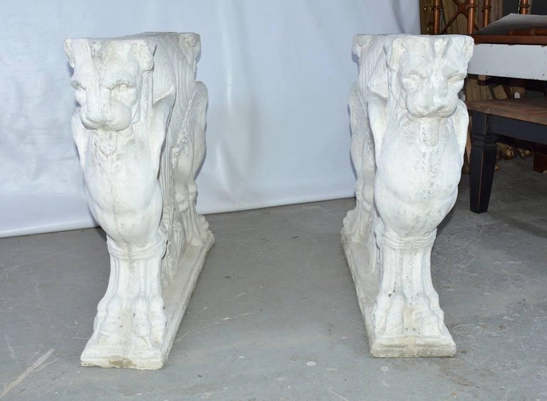 Classical Roman Pair of Italian Neoclassical Style Griffons Table Pedestals For Sale
