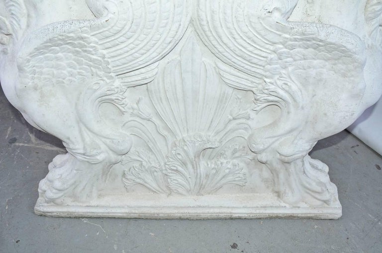 Concrete Pair of Italian Neoclassical Style Griffons Table Pedestals For Sale