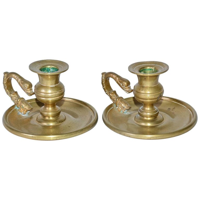 Pair of Antique Brass Candleholders with Dolphin Handles For Sale