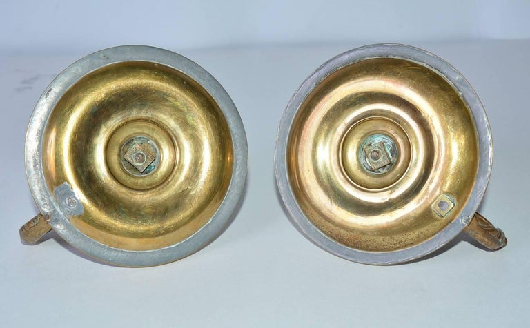 Pair of Antique Brass Candleholders with Dolphin Handles In Good Condition For Sale In Great Barrington, MA