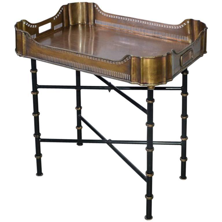 Vintage Brass Gallery Tray on Faux Bamboo Stand For Sale