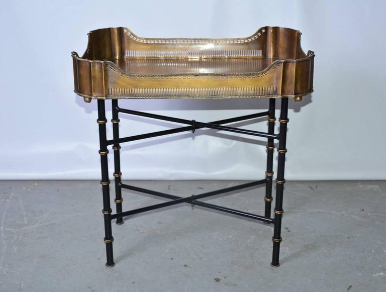 Chippendale Vintage Brass Gallery Tray on Faux Bamboo Stand For Sale