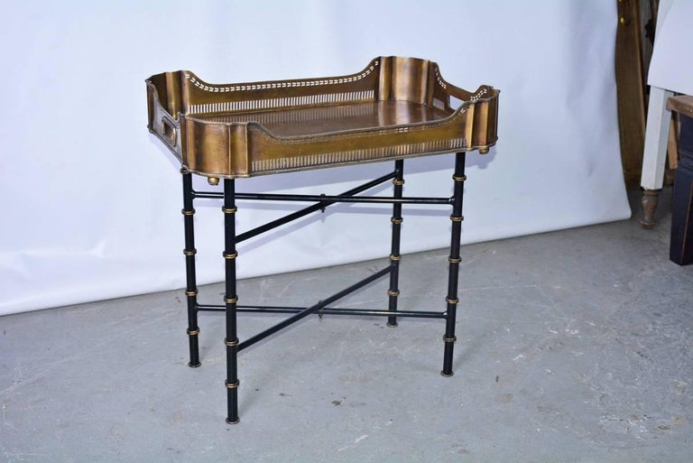 British Vintage Brass Gallery Tray on Faux Bamboo Stand For Sale